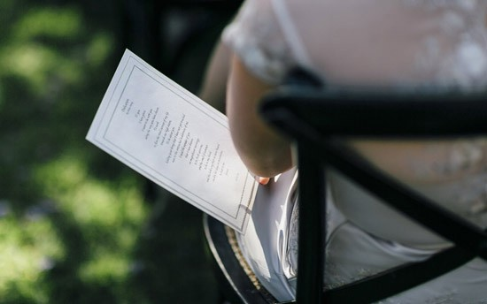 Letterpress ceremony program