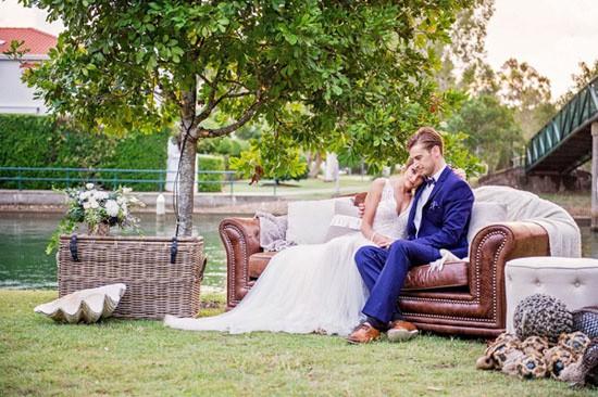 Lounge area at nautical inspired wedding
