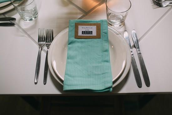 Mint wedding napkin