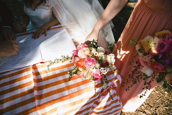 Orange gingham table cloth