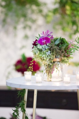 Orchids and hydrangeas aat wedding