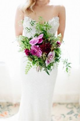 Pink and fern wedding bouquet