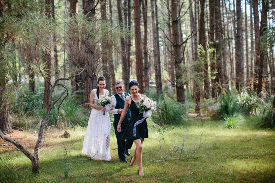 Processional at forest wedding