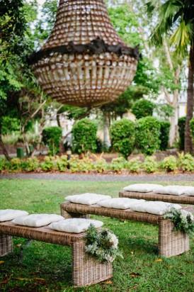 Rustic chandelier at outdoor wedding