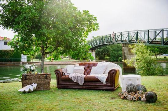 Seaside inspired lounge area at wedding