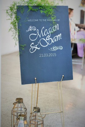 Wedding Welcome Sign With gerns