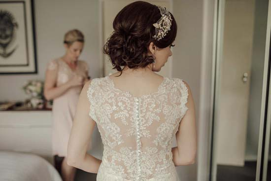 Wedding dress with sheer lace back