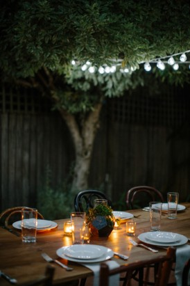 Wedding reception in a forest