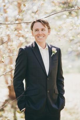 black suit no tie wedding