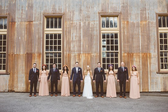 bridal party with corrugated iron