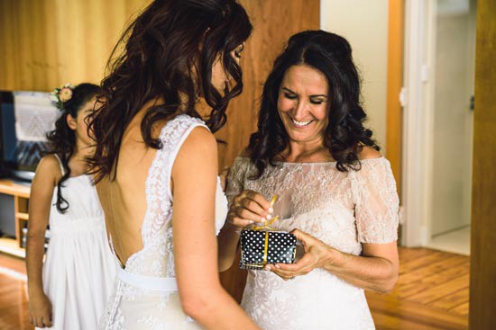 bride giving mother gift
