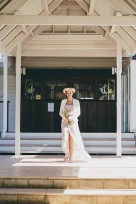 bride in blazer