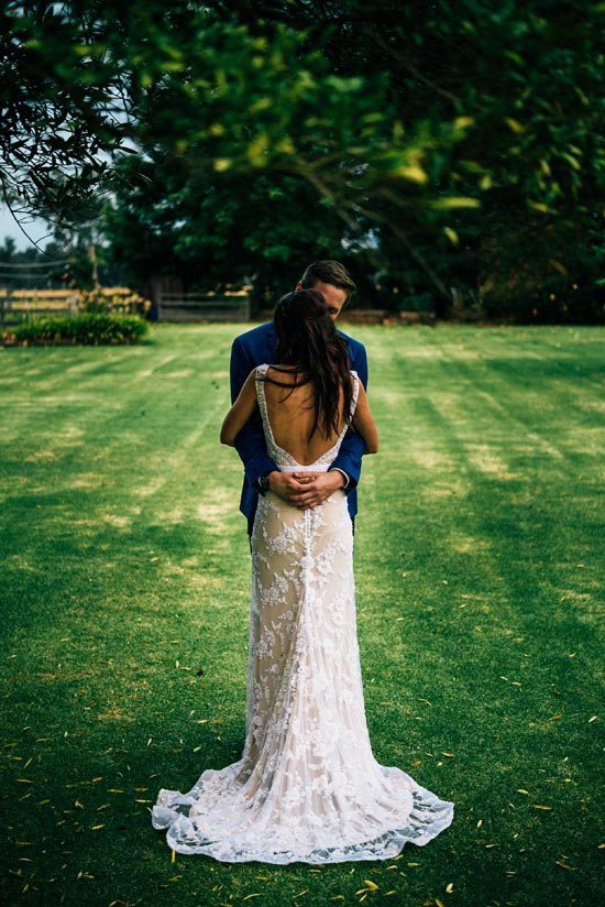 bride in lace custom gown