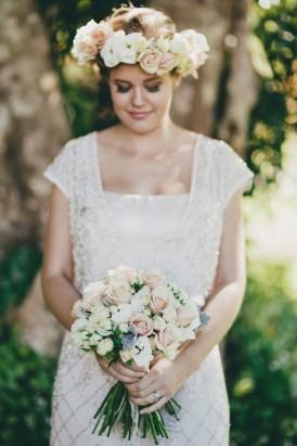 bride with cream rose flower crown