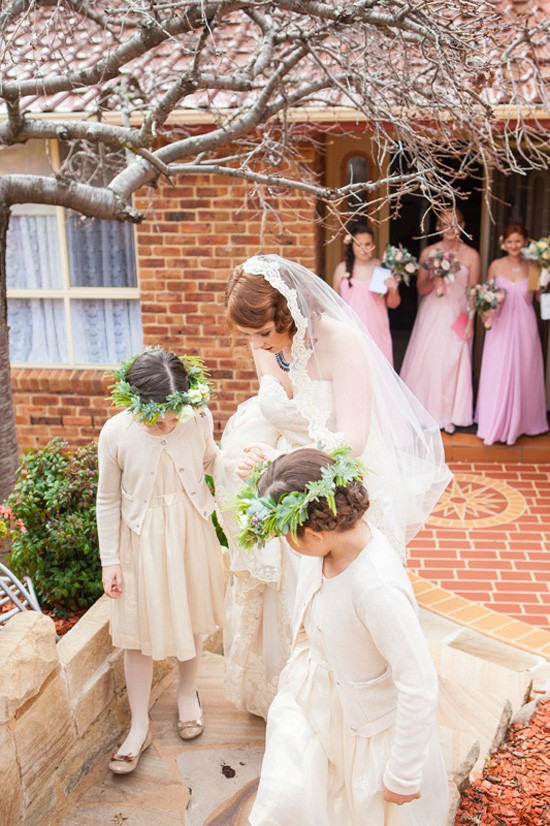 bride with flowergirls