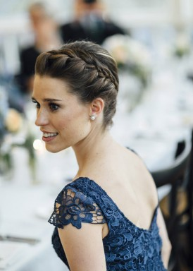 bridesmaid with navy lace dress