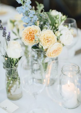 cornflower blue and peach wedding flowers
