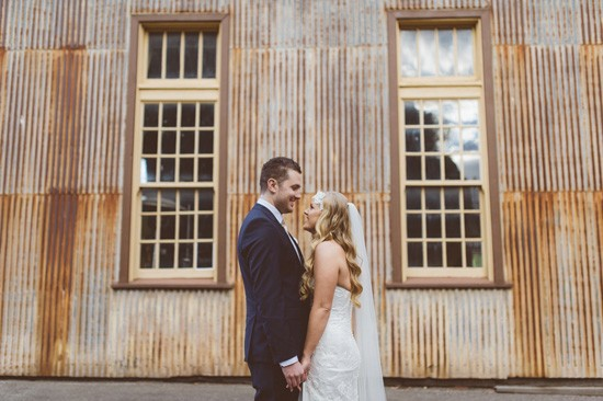 corrugated iron wedding photo