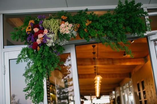 floral garland at wedding reception