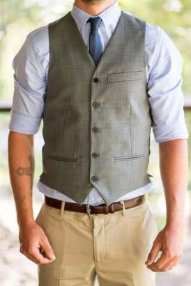 groom in grey waistcoat