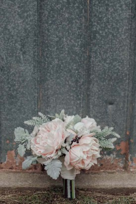 lambs ear and pink peony bouquet