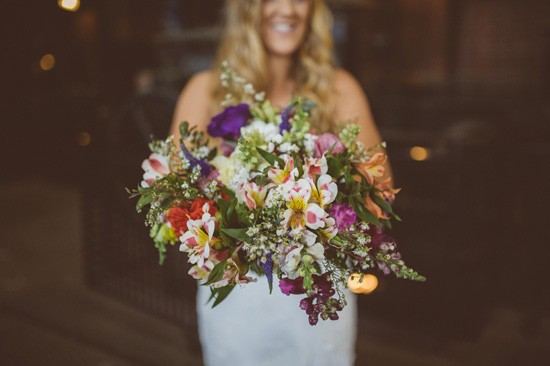 multicoloured wedding bouquet
