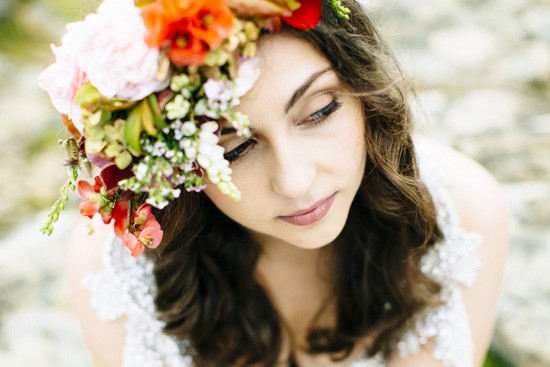 orange and white flower crown