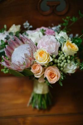 pastel coloured wedding bouquet