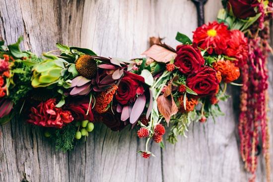 red flower wedding garland