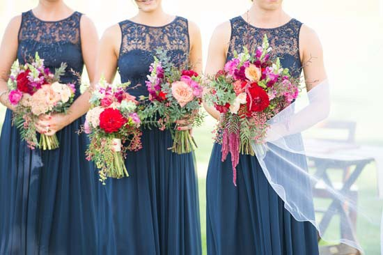 red pink and peach bouquets