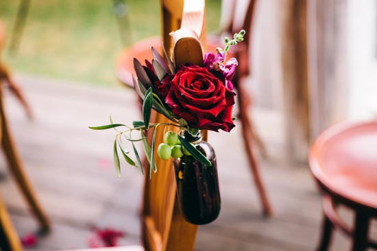red rose chair decorations