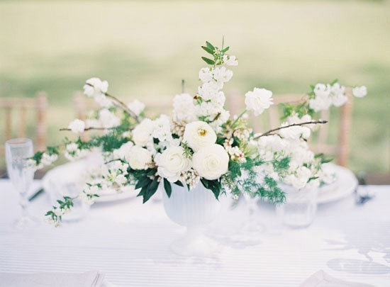 All white wedding tablescape