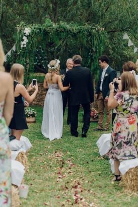 Backyard wedding processional