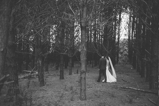 Black and white forest wedding photo
