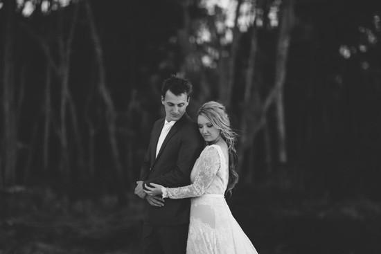 Black and white newlywed photo