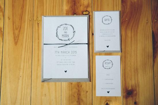 Black and white wedding invitation