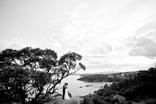 Black and white wedding photo in sydney