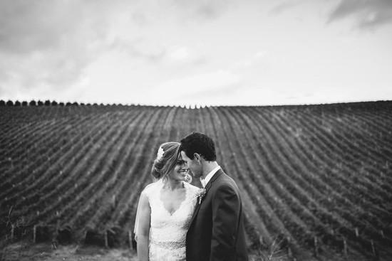 Black and white winery wedding photo