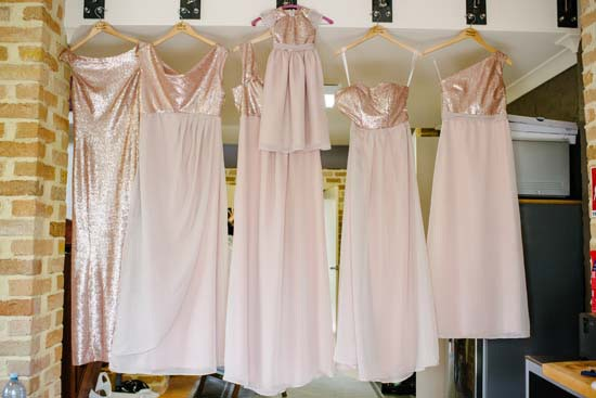 Blush bridesmaid gowns