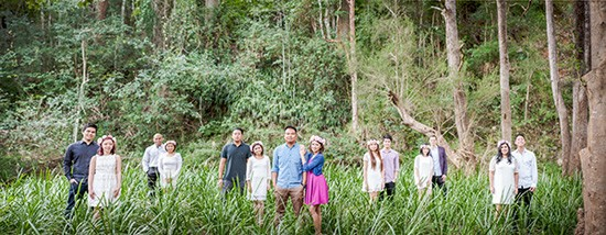 Bridal party in bushland