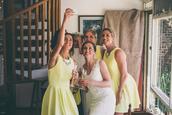 Bride and bridesmaid selfie