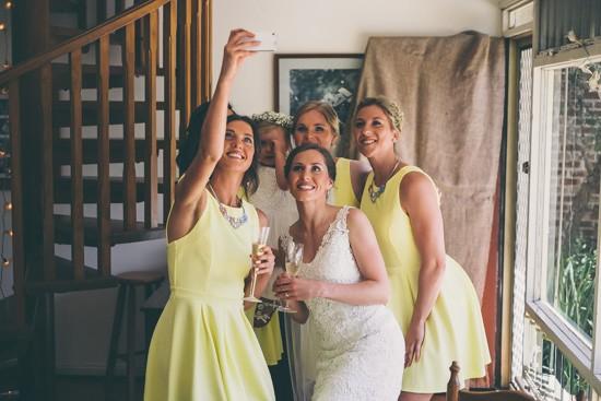 Bride and bridesmaid selfie