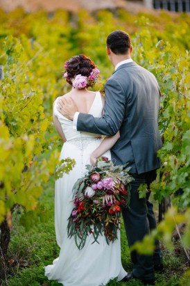Bride and groom at Brookside Vineyard