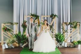 Bride and groom at modern wedding