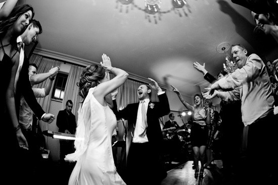Bride and groom dancing at Gunners Barracks
