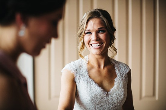 Bride in Maggie Sottero lace dress