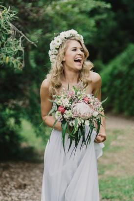 Bride with Australian native bouquet