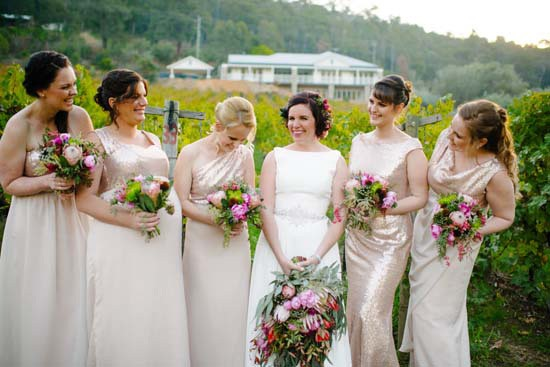 Bride with bridesmaids in sequin gowns