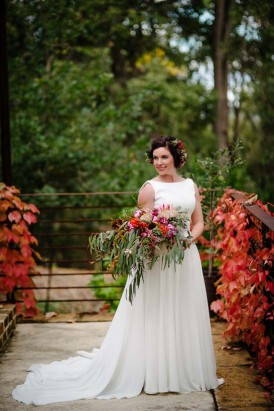 Bride with eucalypt leaves louquet