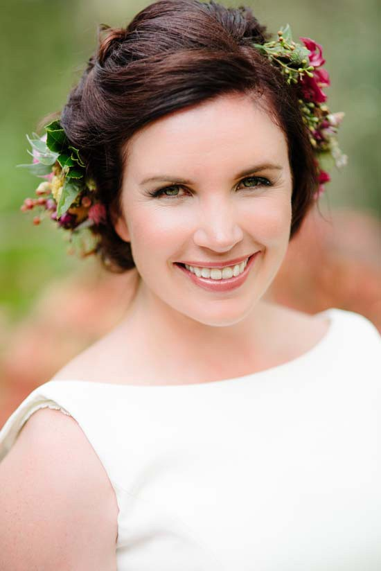 Bride with flower hair style